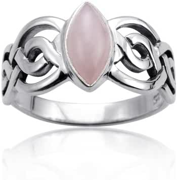 925 Sterling Silver Genuine Rose Quartz Stone Celtic Double Infinity Knot Ring - Nickle Free